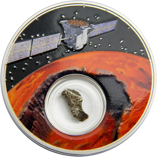 2017 Niue Silver 50th Moon Landing Anniversary Series: Mission to Mars with Meteorite 1oz Proof in OGP