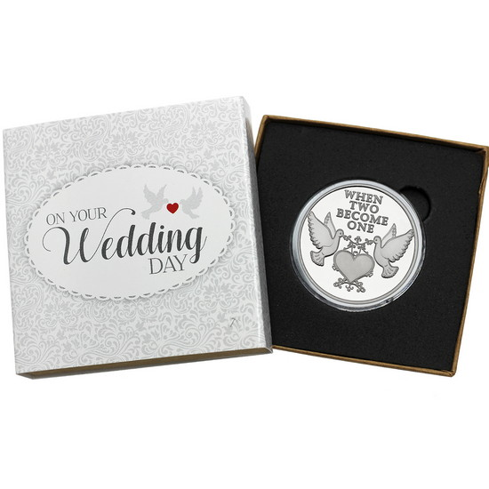 When Two Become One Doves 1oz .999 Silver Medallion Dated 2018