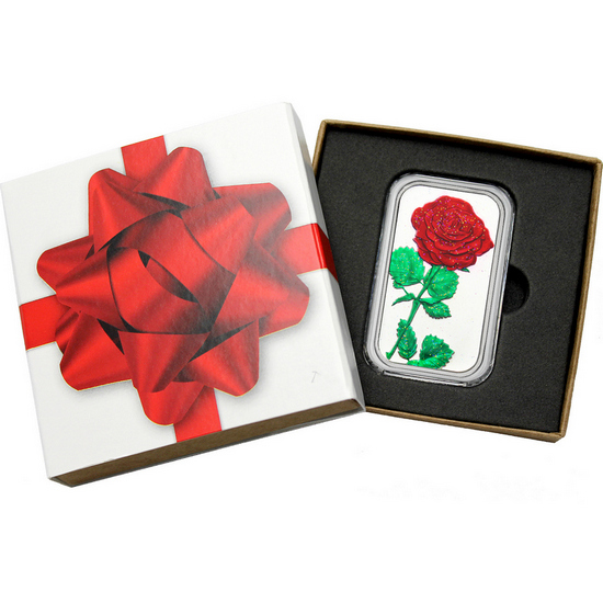 Red Rose 1oz .999 Silver Bar Enameled