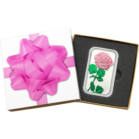 Pink Rose 1oz .999 Silver Bar Enameled