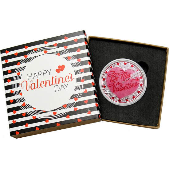Be My Valentine Cupid's Arrow 1oz .999 Silver Medallion Enameled