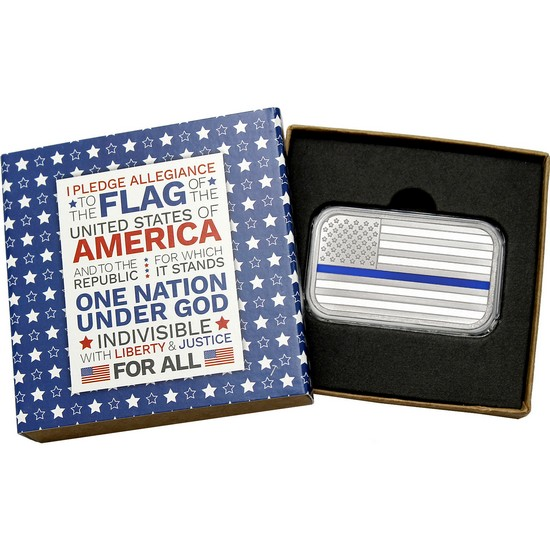 American Flag Blue Line 1oz .999 Silver Bar Enameled