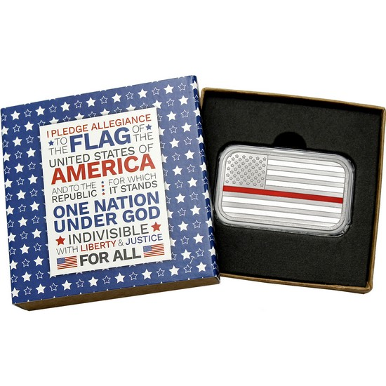 American Flag Red Line 1oz .999 Silver Bar Enameled