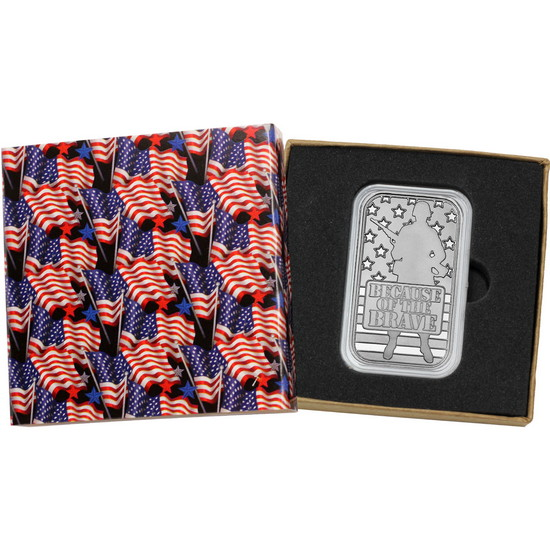 Because of the Brave - American Soldier 1oz .999 Silver Bar