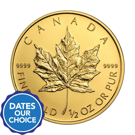 Canada Gold Maple Leaf 1/2oz 9999 Fine Gold BU Coin Date Our Choice - Secondary Market