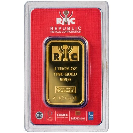 Republic Metals Corporation 1oz Gold Bar Packaging Color Our Choice