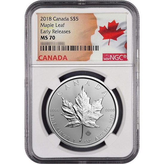 2018 Canada Silver Maple Leaf 1oz Coin MS70 ER NGC Flag Label