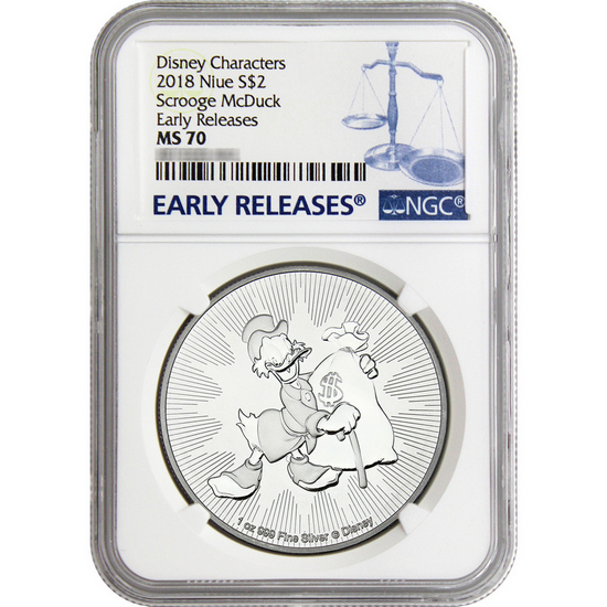2018 Disney Scrooge Mcduck Silver Coin Ms70er Ngc