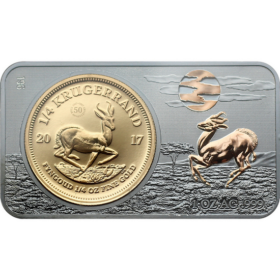 2017 South Africa 50th Anniversary 1/4oz Proof Gold Krugerrand Coin and Silver Bar Set