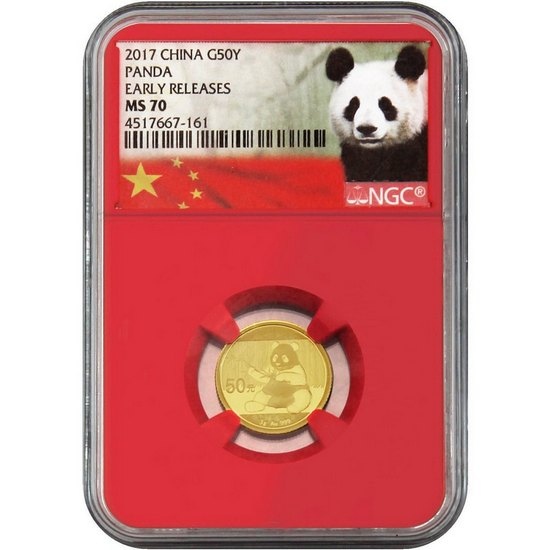 2017 China Gold Panda 3g MS70 ER NGC Red Core Panda Label