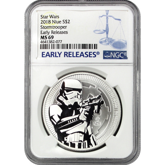 2018 Niue Silver Star Wars™ Stormtrooper 1oz Coin MS69 ER NGC Blue Label