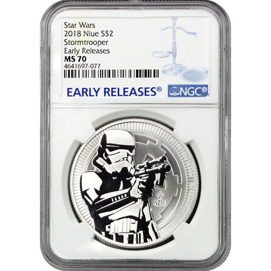 2018 Niue Silver Star Wars™ Stormtrooper 1oz Coin MS70 ER NGC Blue Label
