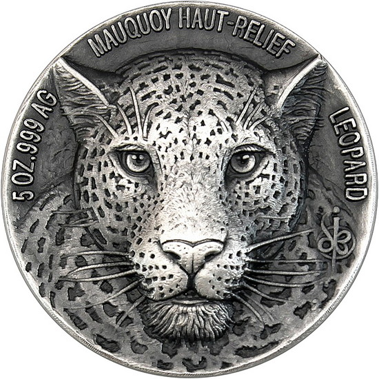 2018 Silver 5oz Leopard Big Five Mauquoy Antiqued High Relief Coin in OGP