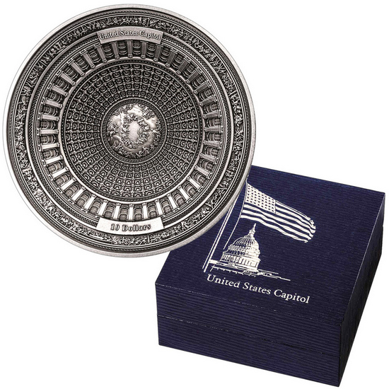 2017 Samoa Silver US Capitol Dome Antique Finish 100 Gram 4 Layer Coin in OGP