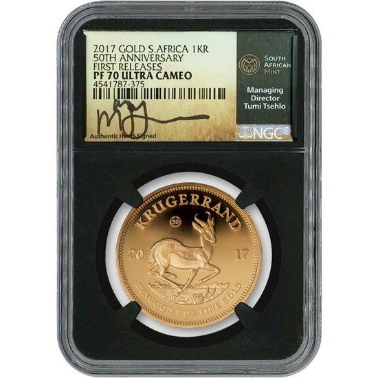2017 South Africa Krugerrand 50th Anniversary Gold 1oz PF70 FR Black Core NGC Tumi Tsehlo Signature Label