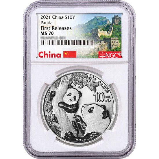 2021 China Silver Panda 30g MS70 FR NGC White CoreGreat Wall of China Label