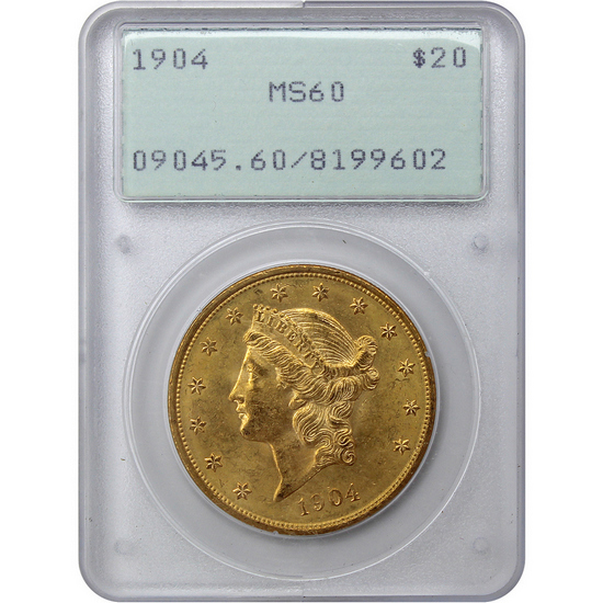 1904 $20 Gold Liberty Head Coin Type III MS60 PCGS First Generation Holder