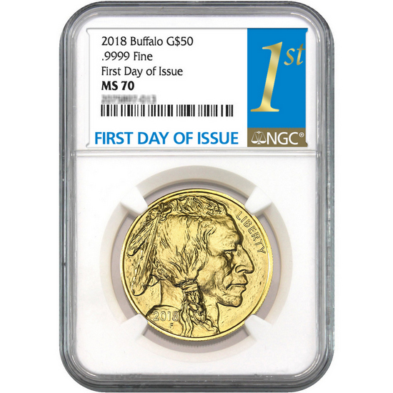 2018 Gold Buffalo 1oz ($50) .9999 Gold Coin MS70 NGC First Day Issue Label