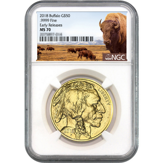 2018 Gold Buffalo 1oz ($50) .9999 Gold Coin MS70 ER NGC Buffalo Label
