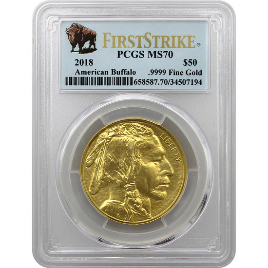2018 Gold Buffalo 1oz ($50) .9999 Gold Coin MS70 FS PCGS Buffalo Label