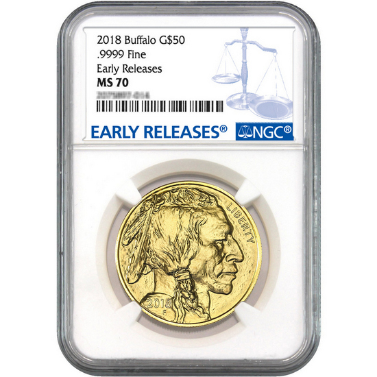 2018 Gold Buffalo 1oz ($50) .9999 Gold Coin MS70 ER NGC Blue Label