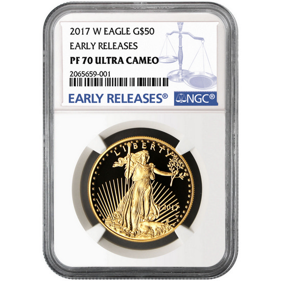 2017 W Gold American Eagle 1 Ounce $50 PF70 UC ER NGC Blue Label