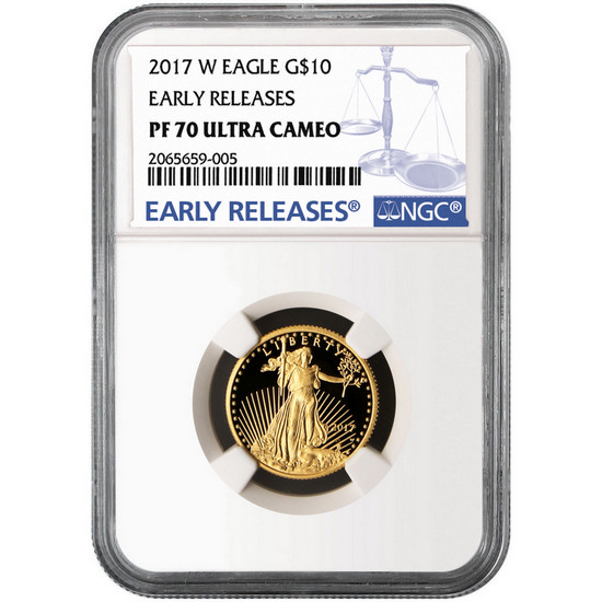2017 W Gold American Eagle 1/4 Ounce $10 PF70 UC ER NGC Blue Label