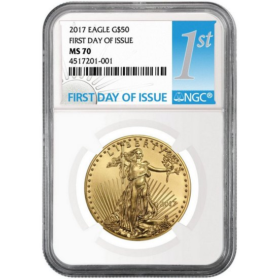 2017 Gold American Eagle 1oz ($50) MS70 NGC First Day Issue Label
