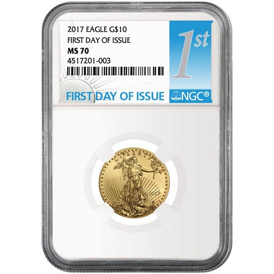 2017 Gold American Eagle Quarter Ounce ($10) MS70 NGC First Day Issue Label