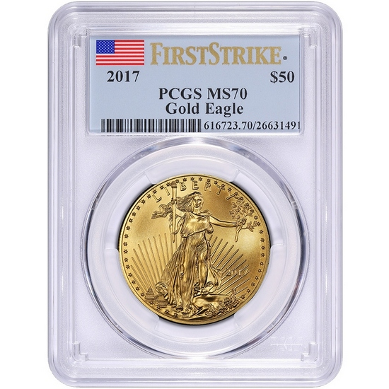 2017 Gold American Eagle 1oz ($50) MS70 FS PCGS Flag Label