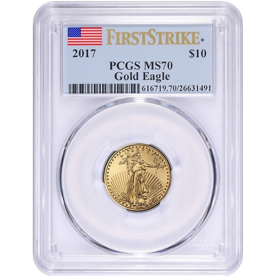 2017 Gold American Eagle Quarter Ounce ($10) MS70 FS PCGS Flag Label