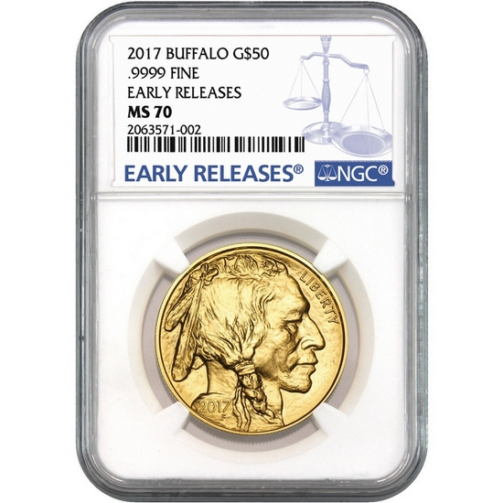 2017 Gold Buffalo 1oz ($50) MS70 ER NGC Blue Label