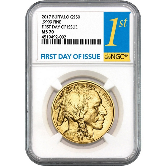 2017 Gold Buffalo 1oz ($50) MS70 NGC First Day Issue Label