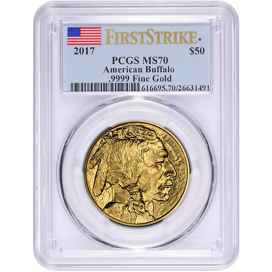 2017 Gold Buffalo 1oz ($50) MS70 FS PCGS Flag Label