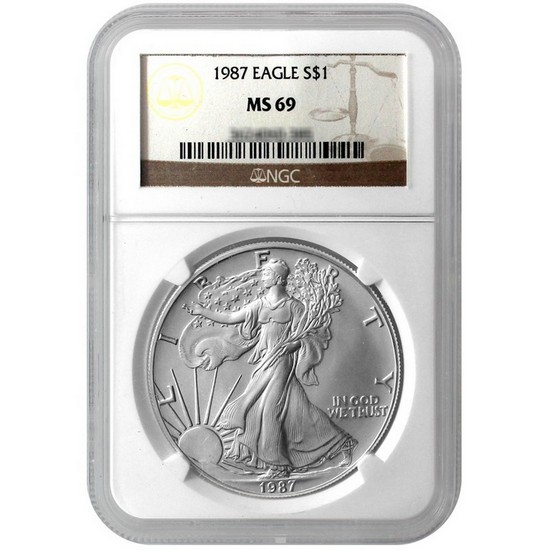 1987 Silver American Eagle MS69 NGC Brown Label