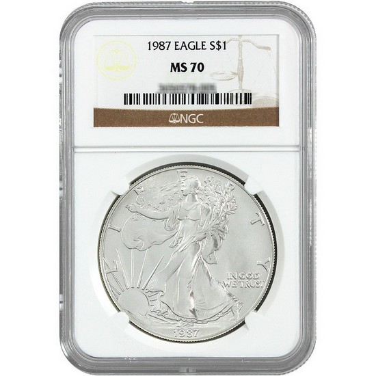 1987 Silver American Eagle MS70 NGC Brown Label