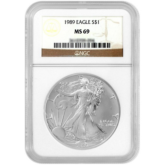 1989 Silver American Eagle MS69 NGC Brown Label