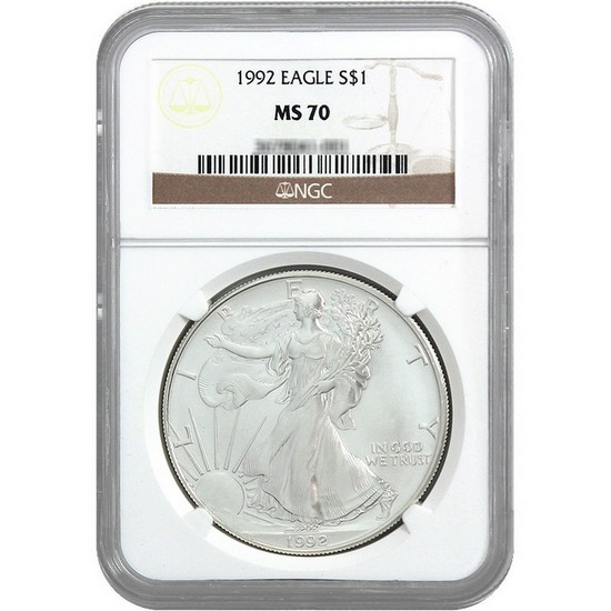 1992 Silver American Eagle MS70 NGC Brown Label