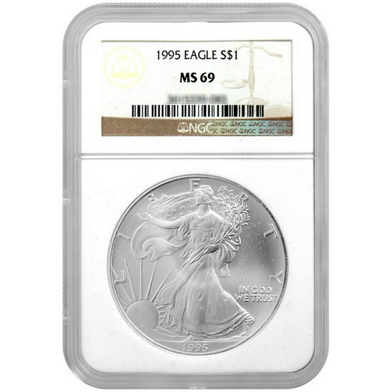 1995 Silver American Eagle MS69 NGC Brown Label