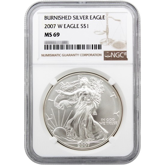 2007 W Silver American Eagle MS69 Burnished NGC Brown Label