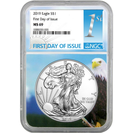 2019 Silver American Eagle MS69 FDI NGC 1st Label Eagle Core