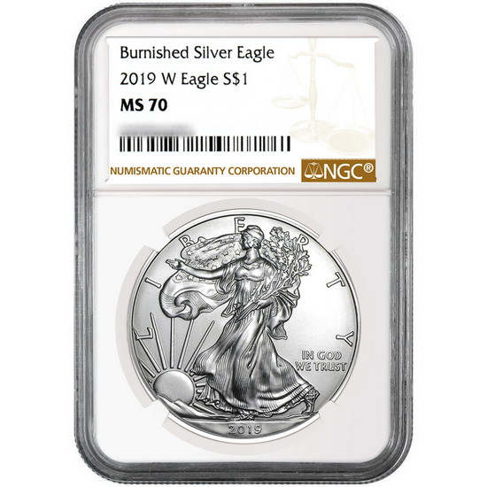 2019 W Burnished Silver American Eagle MS70 NGC Brown Label