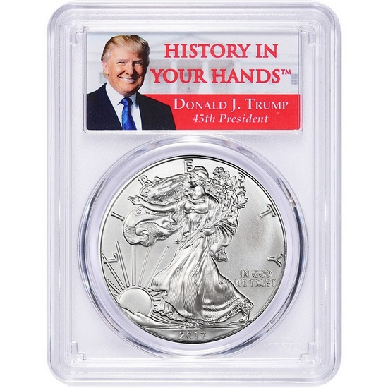 "2017 Silver American Eagle MS69FS PCGS Donald J. Trump ""History In Your Hands"" Label"