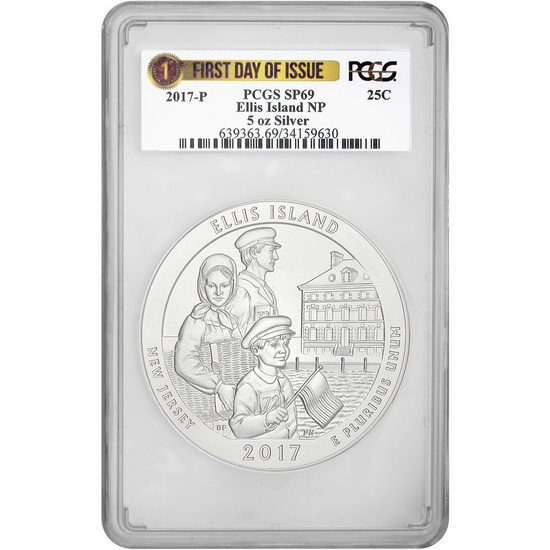 2017 P America the Beautiful Silver 5oz Ellis Island SP69 FDI PCGS