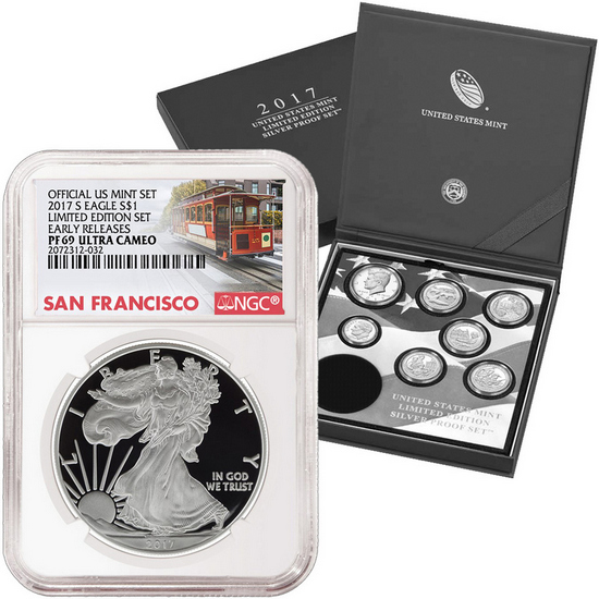 2017 United States Mint Limited Edition Silver Proof Set with PF69 Silver Eagle NGC SF Trolley Label