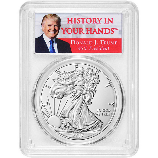 "2017 W Silver American Eagle Burnished SP70 FDI 1 of 1000 PCGS Donald J. Trump ""History In Your Hands"" Label"
