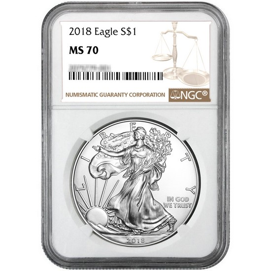 2018 Silver American Eagle MS70 NGC Brown Label