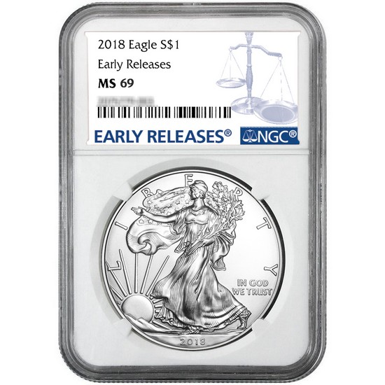 2018 Silver American Eagle MS69ER NGC Blue Label