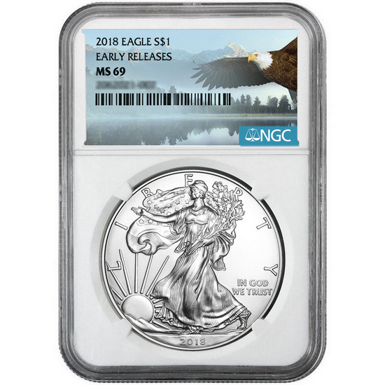 2018 Silver American Eagle MS69ER NGC Bald Eagle Label