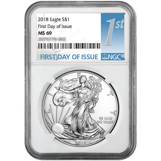 2018 Silver American Eagle MS69 FDI NGC 1st Label